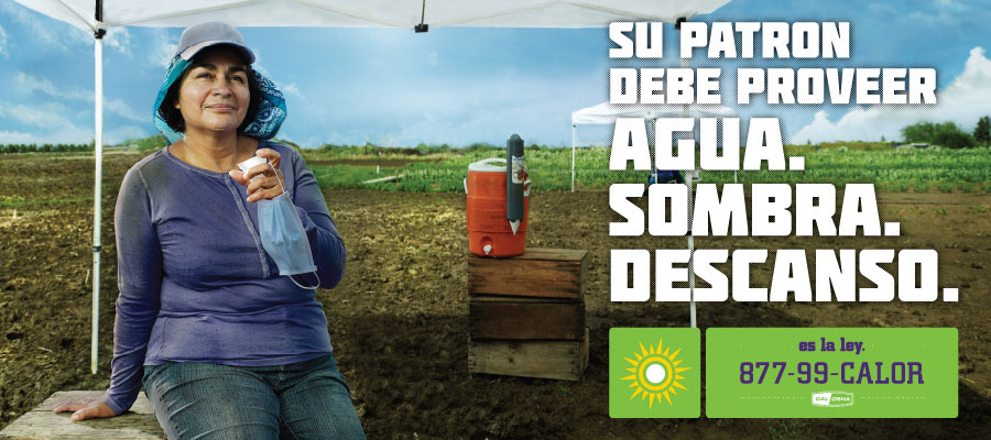 Your provider must provide water, shade, and rest.  It's the law.  877-99-CALOR.